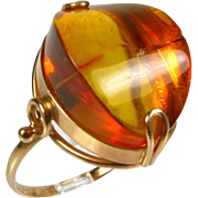 Antique Victorian 14k Rose Gold 12ct Genuine Fancy Cut Baltic Amber Solitaire Ring
