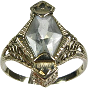 Antique Art Deco 1920's 2ct Natural Fancy Cut Aquamarine 14k White Gold Filigree Ring
