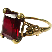 Gorgeous Antique Victorian 10k Yellow Gold 4ct Natural Emerald Cut Garnet Floral Ring