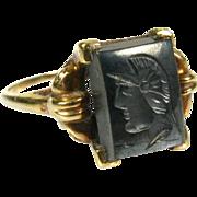 Antique Victorian 14k Yellow Gold Carved Intaglio Spartan Roman Soldier Ring