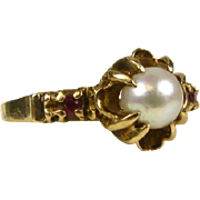 Antique Victorian 10k Yellow Gold 6mm Pearl and .05ctw Natural Ruby Ring