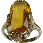 Antique Edwardian 14k White Gold Natural 6ct Emerald Cut Citrine Solitaire Filigree Ring