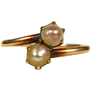 Antique Victorian 10k Rose Gold 4mm 2 Natural Lustrous Pearl Ring