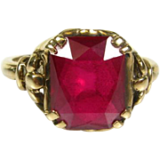 Antique Victorian 10k Yellow Gold 4ct Emerald Cut Red Stone Solitaire Ring