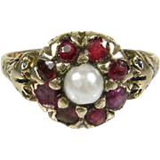 Antique Early Victorian Gorgeous 10k Yellow Gold Natural 4mm Pearl and .50ctw Ruby Floral Ring