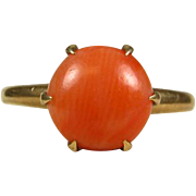 Antique Victorian 1800's 10k Yellow Gold 2ct Natural Round Cut Coral Solitaire Ring