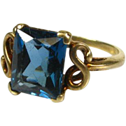 Victorian 10k Yellow Gold 1.50ct Natural Princess Cut Blue Topaz Solitaire Child's Ring