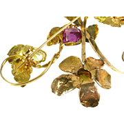 Antique Victorian 18k Yellow Gold Natural 4ct Amethyst & 4ctw Citrine Floral Pin Brooch