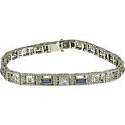 Art Deco 10k White Gold Filigree Sapphire & Diamond French Cut Bracelet