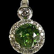 Elegant Vintage 14k White Gold 1ctw Green and White Diamond Pendant 3.2g