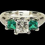 Estate Natural 1.20ctw VS1/I Leo Diamond and Emerald 14k White Gold Ring