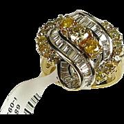 Estate 14k Yellow Gold 2ctw Yellow and White Diamond Cocktail Ring 10g