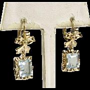Pristine Vintage 14k Yellow Gold 6ctw Natural Aquamarine Ribbon Leverback Earrings