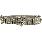 Vintage Dated Year 1917 Diamonbar .925 Sterling Silver White Stone Belt Buckle Bracelet