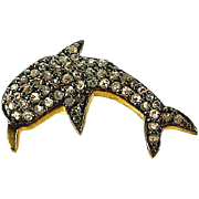 Estate Handmade 14k and .925 Sterling Silver .50ctw Old Rose Cut Diamond Dolphin Pendant
