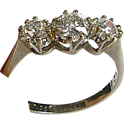 Vintage 1926 900 PLATINUM & 18k 1ctw 3 Mine Cut Diamond VS-SI GH Diamond Ring