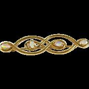 Retro Vintage Pristine Natural Opal 14k Yellow Gold Pin Brooch