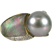 Gorgeous 10mm South Seas Gray Pearl, Mother of Pearl and Diamond 14k Dinner Ring