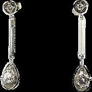 Vintage Art Deco .75ctw Natural Round Cut VS-SI/F  Diamond 14k Dangle Drop Earrings
