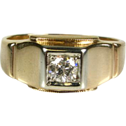 Antique .25ct Old Mine Cut Natural Diamond 14k Mens Ring