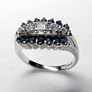 Gorgeous 14K White Gold Diamond and Natural Sapphire Ring