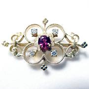 Exquisite 14K Yellow Gold Retro Diamond & Ruby Brooch Pin Pendant