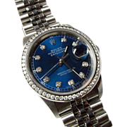 Mens Rolex Stainless Datejust Ref 16234 With Diamond Dial & Bezel