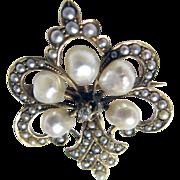 Antique Fleur De Lis 14K Yellow Gold Early Victorian Seed Pearl & Diamond Pin/Watch Holder Bro