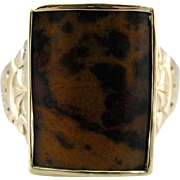 Upcycled Victorian Leopard Jasper Men's Statement Ring in 10K Yellow Gold, Old West Style