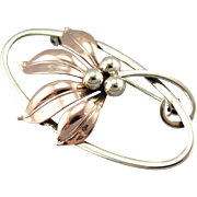 Retro Autumn: Rose and Yellow Gold, Flowing Mixed Metal Vintage Floral Pin