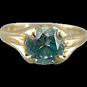 Designed for Her: Vintage Mid Century Round Blue Zircon Solitaire