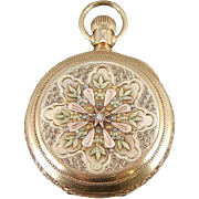1892 Waltham Riverside Pocket Watch In Tri Color 14K Gold, Old Mine Cut Diamond