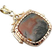 Regal Antique Locket with Sardonyx Intaglio and Moss Agate