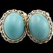 Robin's Egg Blue, Vintage Oval Turquoise Stud Earrings