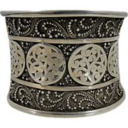 Large, Wide and Beautiful Sterling Silver Cuff Bracelet, Very Ornate