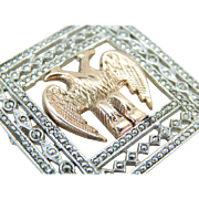 Incredible Art Deco Brooch in Sterling and Marcasite with 10K Rose Gold Double Eagle Center