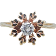 Pretty Vintage Diamond Cocktail Ring with Snowflake Motif