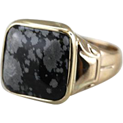 Midnight Snowflake: Vintage Obsidian and Gold Statement Ring
