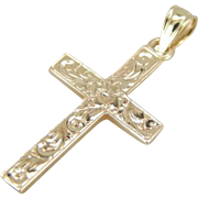 Lovely Floral Etched Cross in Yellow 14K Gold
