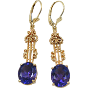 Royal Purple Amethyst set in long 14k Rose Gold, Victorian Earrings
