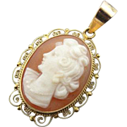 Vintage Cameo Shell Pendant with Filigree Frame