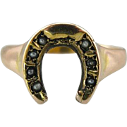Lucky You: Victorian Cultured Seed Pearl Horseshoe Ring