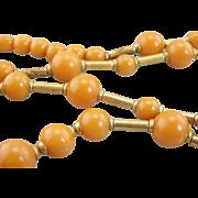Autumn Orange Bakelite and Copper Retro Beaded Necklace