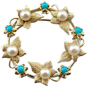 Art Nouveau Leaf, Cultured Pearl and Turquoise Circle Pin