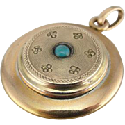 Antique Locket with Turquoise Center, lovely Pendant