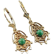 Victorian Revival Earrings with Pretty Turquoise Gems