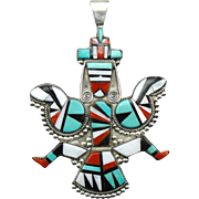 Fantastic Zuni Native American Knifewing Dancer Statement Pendant