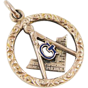 10K Rose Gold Antique Victorian Blue Enamel Masonic Pendant