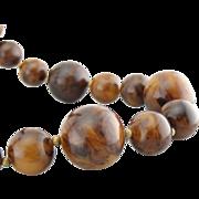 Extra Long Vintage Necklace, Marbled Amber Bakelite Beads