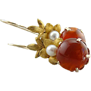 Gorgeous and Graceful, Cultured Pearl and Carnelian Vintage Drop Earrings